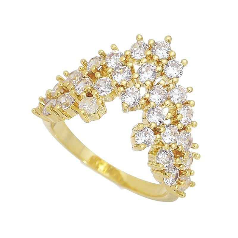 Anel Coroa com Pedra Zircônia Banho Ouro 18k
