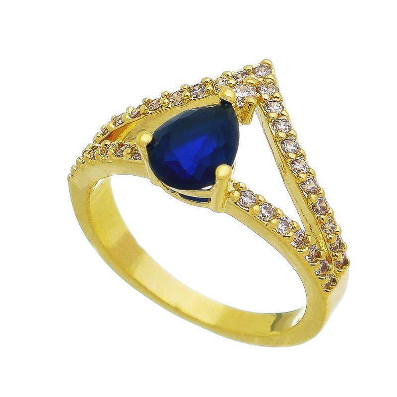 Anel Coroa Gota Cristal Azul com Pedra Zircônia Banho Ouro 18k - Giro Semijoias