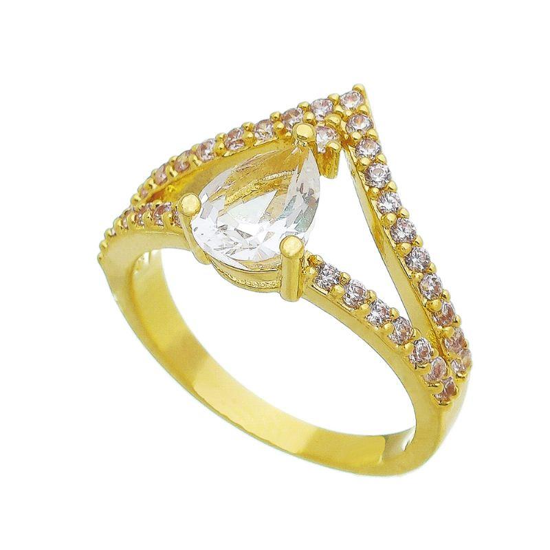 Anel Coroa Gota Cristal Incolor com Pedra Zircônia Folheado em Ouro 18k - Giro Semijoias