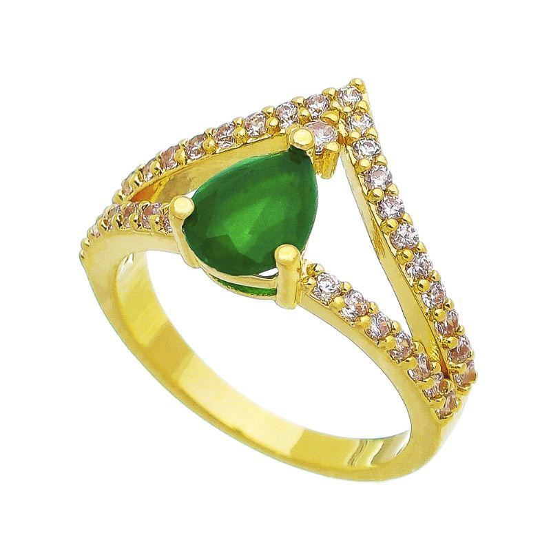 Anel Coroa Gota Cristal Verde com Pedra Zircônia Folheado em  Ouro 18k