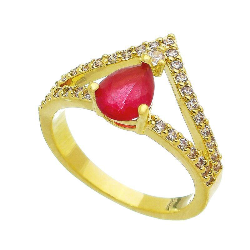 Anel Coroa Gota Cristal Vermelho com Pedra Zircônia Banho Ouro 18k - Giro Semijoias