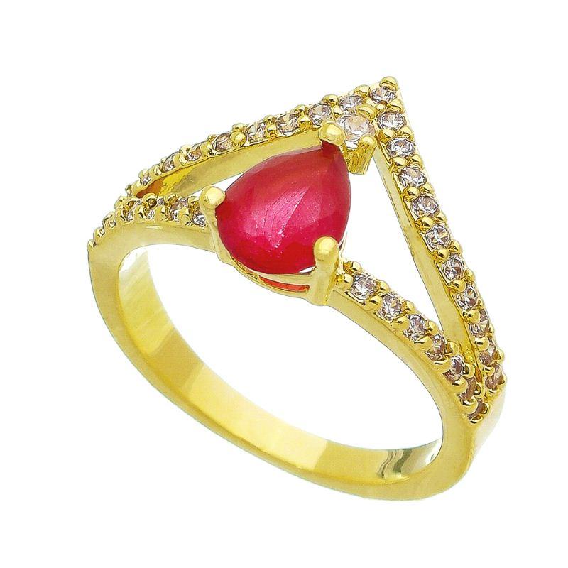 Anel Coroa Gota Cristal Vermelho com Pedra Zircônia Folheado em Ouro 18k