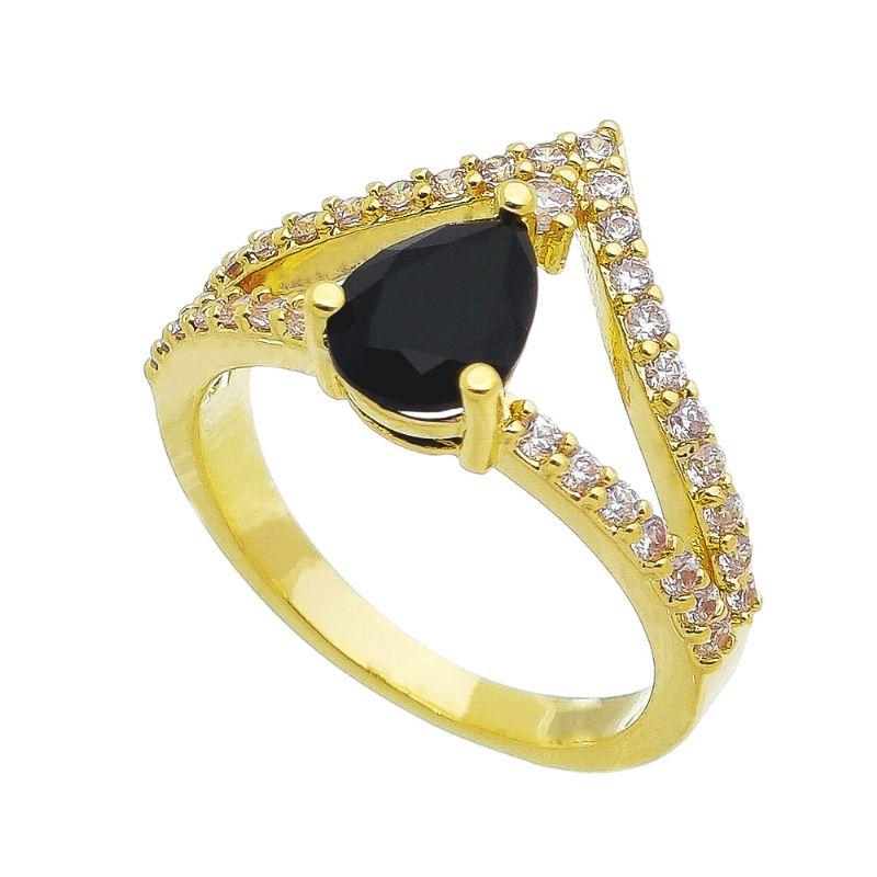 Anel Coroa Gota em Cristal Preto com Pedra em Zircônia Folheado em Ouro 18k