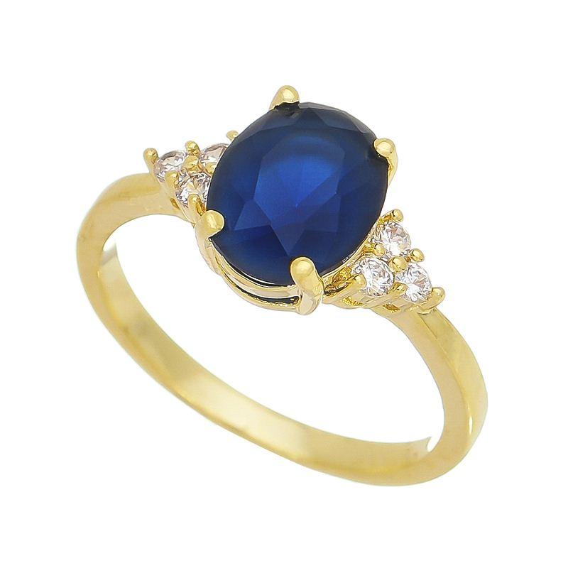 Anel Cristal Azul com Pedras Zircônias Laterais Banho Ouro 18k