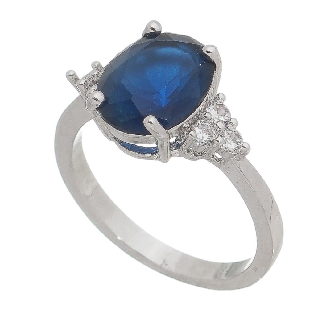 Anel Cristal Azul com Pedras Zircônias Laterais Banho Ródio Branco