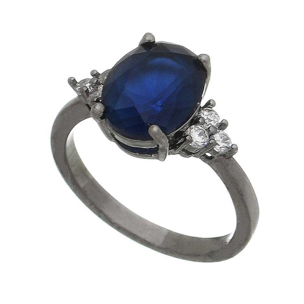 Anel Cristal Azul com Pedras Zircônias Laterais Banho Ródio Negro