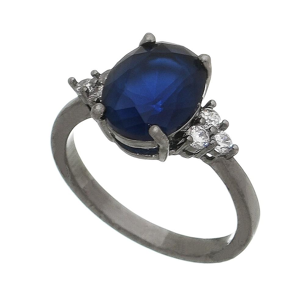 Anel Cristal Azul com Pedras Zircônias Laterais Banho Ródio Negro - Giro Semijoias