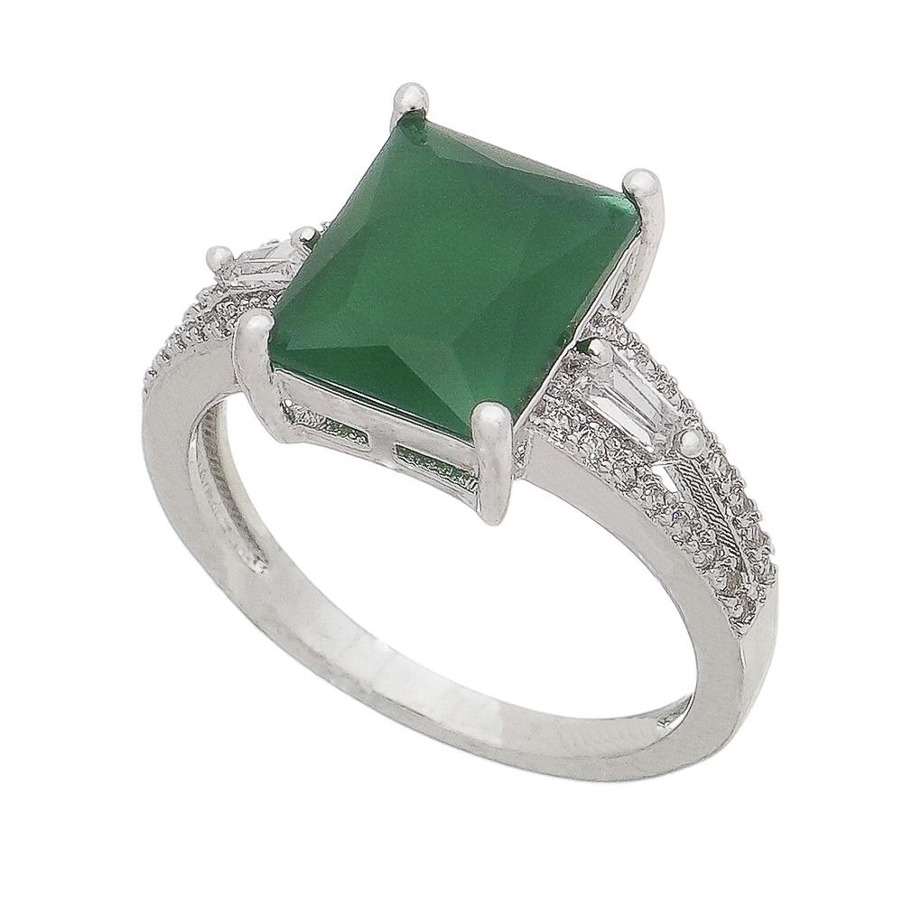Anel Cristal Quadrado Verde C/ Zircônias Goberta - Banho Ródio Branco