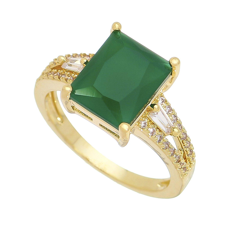 Anel Cristal Quadrado Verde C/ Zircônias Leda - Banho Ouro 18k