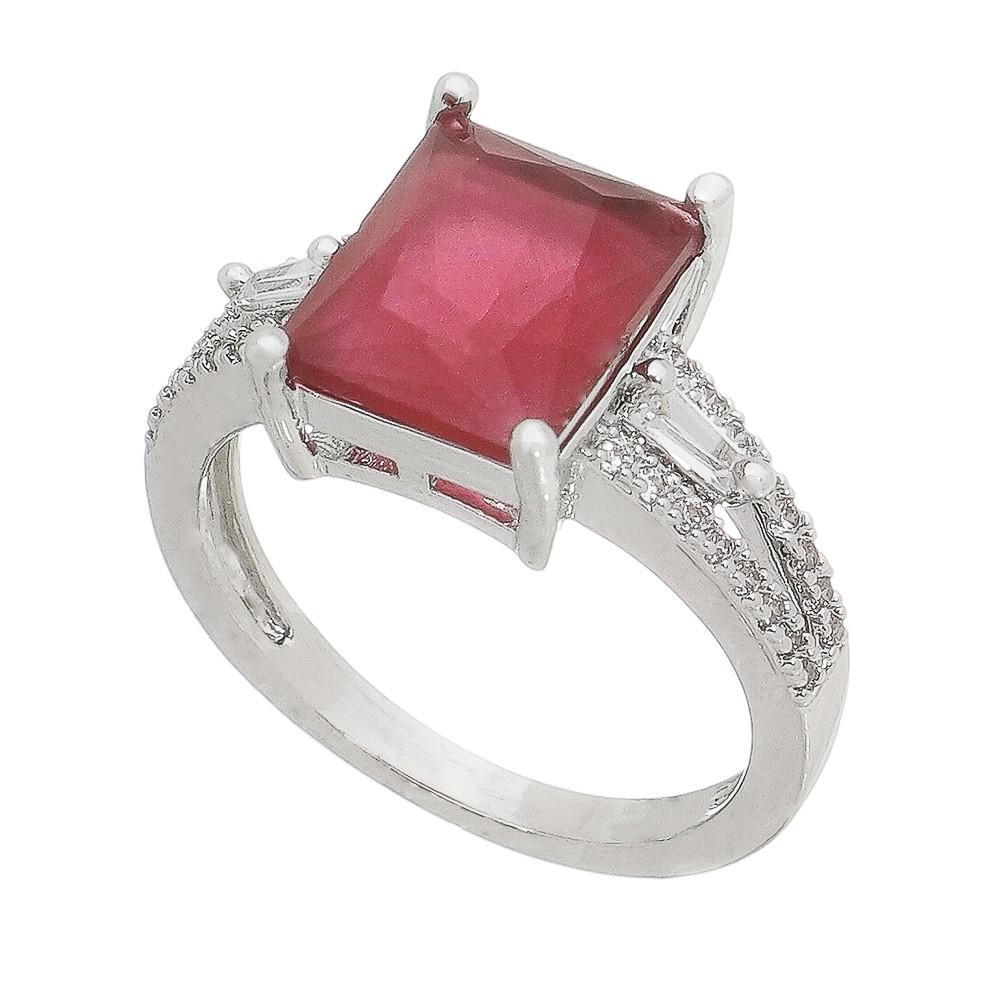 Anel Cristal Quadrado Vermelho C/ Zircônias Goberta - Banho Ródio Branco