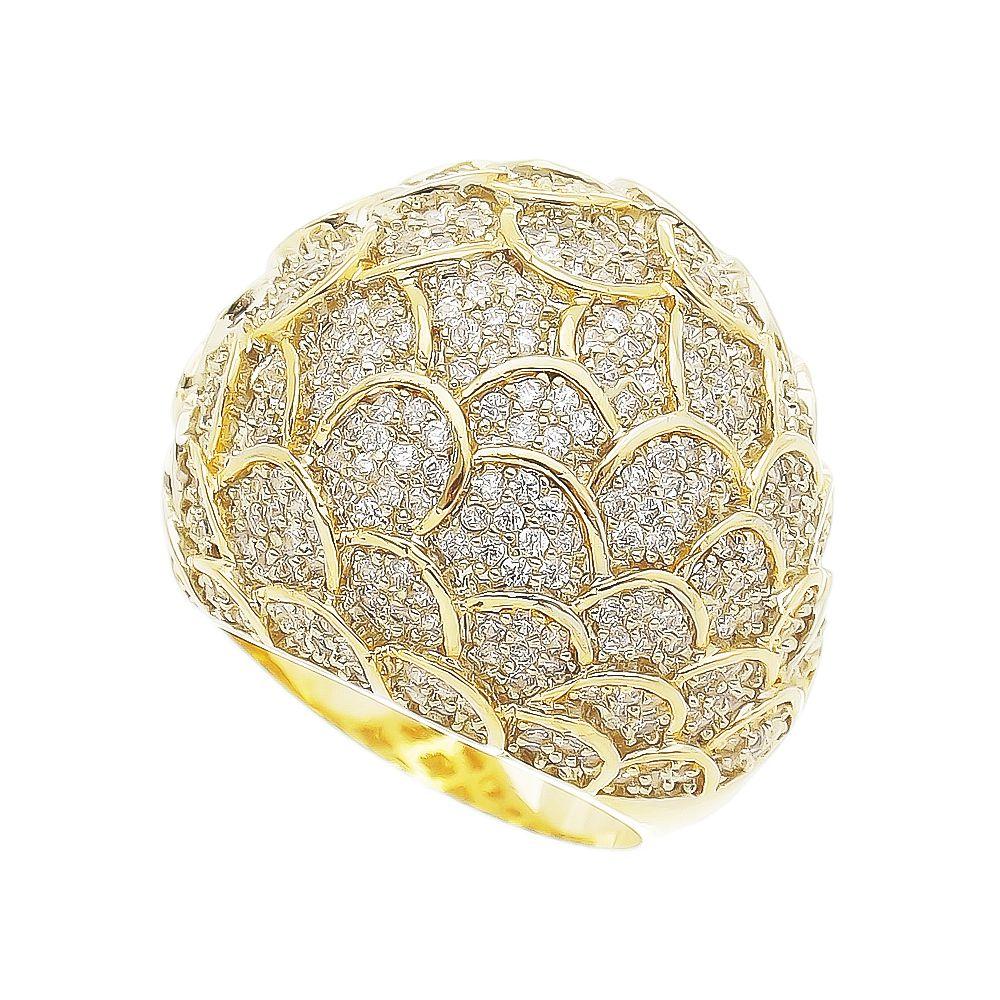 Anel Escamas Cravejadas em Zircônia Folheado em Ouro 18k