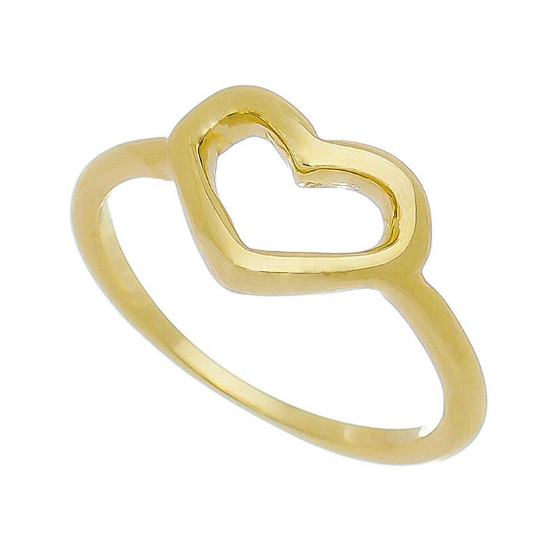 Anel Falange Coração Liso Vazado Folheado em Ouro 18k