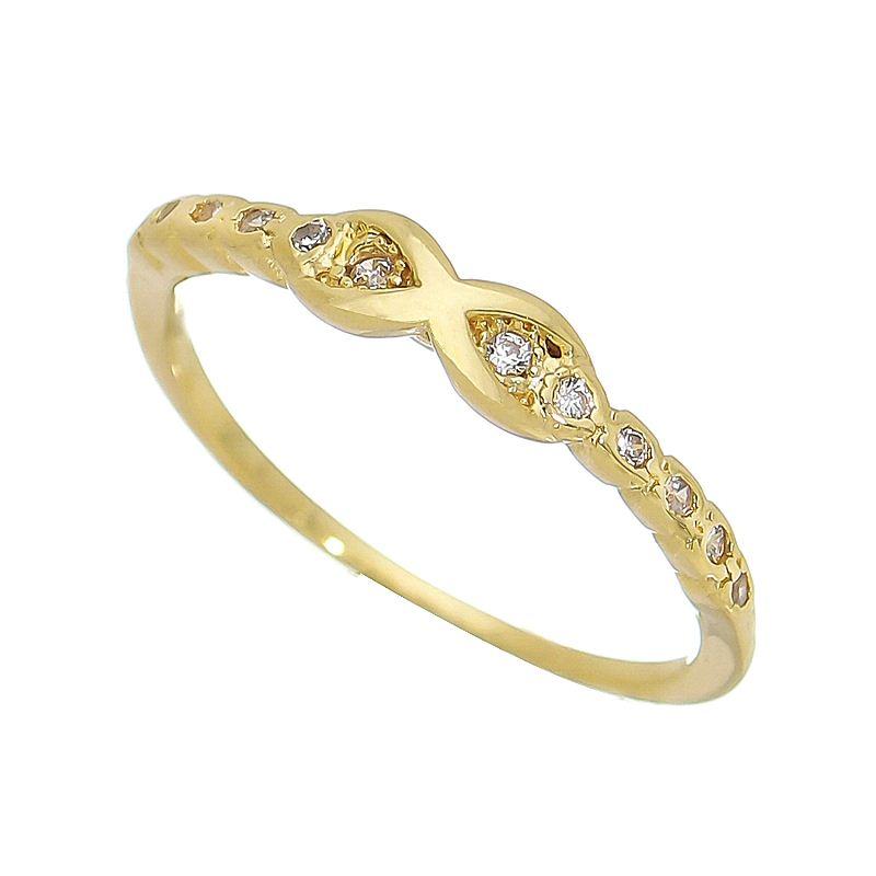 Anel Falange Infinito com Pedra Zircônia Folheado em Ouro 18k