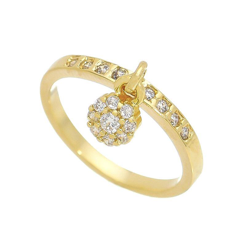 Anel Falange Pingente Flor com Pedra Zircônia Folheado em Ouro 18k