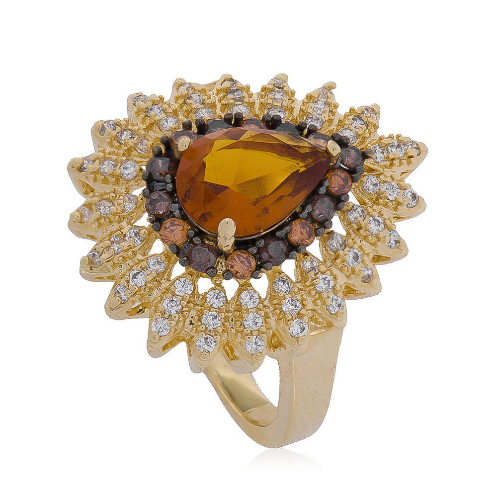 Anel Gota com Cristal Marrom e Zircônias Incolor Folheado em Ouro 18k