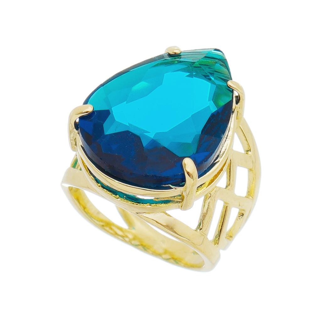 Anel Gota Cristal Azul Vazado Banho Ouro 18k