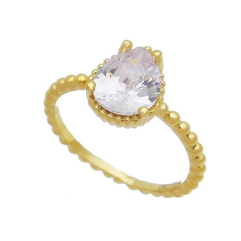 Anel Bolinha com Pedra em Cristal Folheado em Ouro 18k - Giro Semijoias
