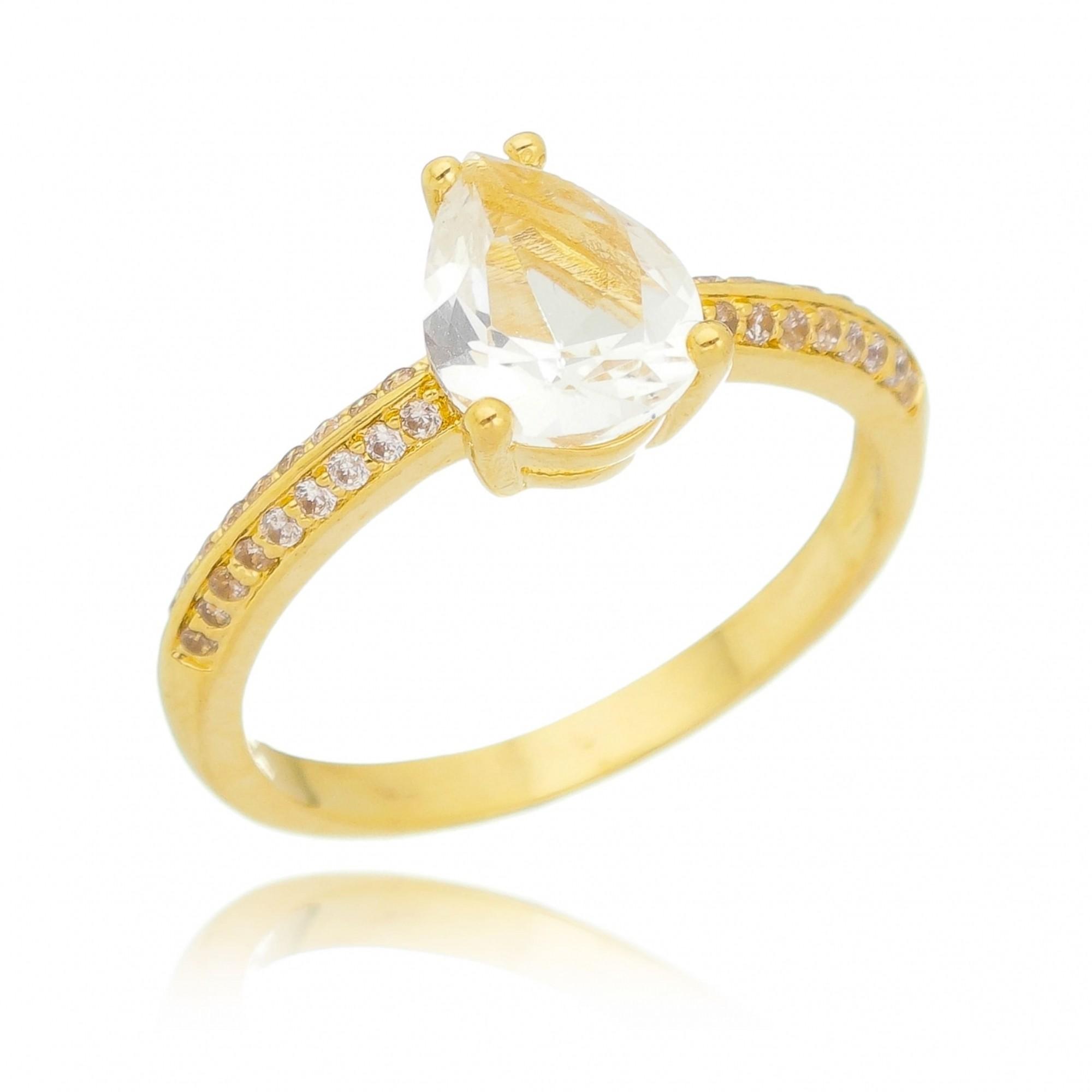 Anel Gota Cristal Incolor Cravejado em Zircônias Folheado em Ouro18k - Giro Semijoias