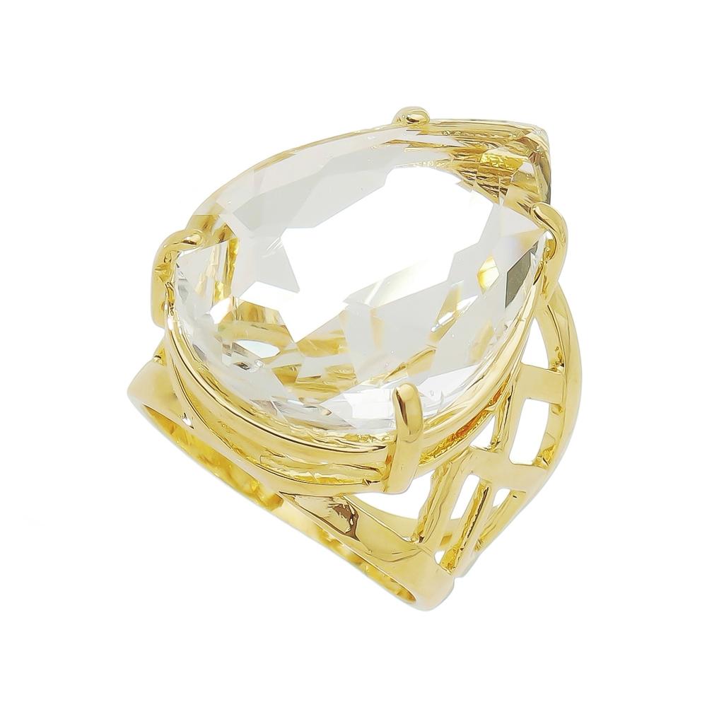 Anel Gota Cristal Vazado Banho Ouro 18k