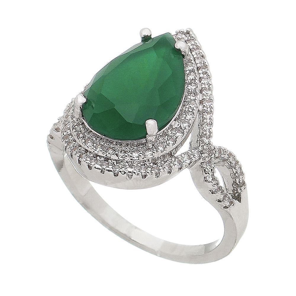 Anel Gota Cristal Verde e Contorno de Zircônias Dejopeja - Rodio Branco