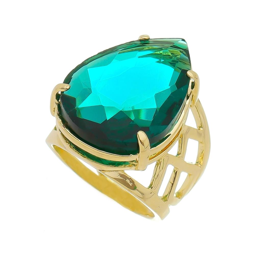 Anel Gota Cristal Verde Vazado Banho Ouro 18k
