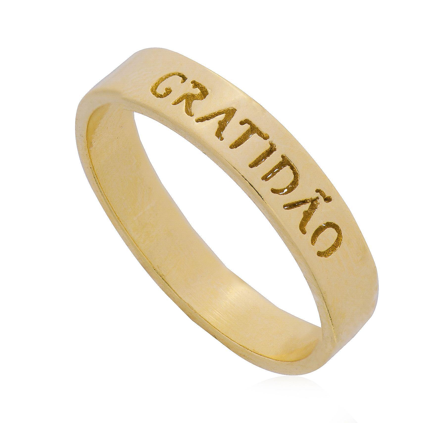 Anel Gratidão Banho Ouro 18k - Giro Semijoias