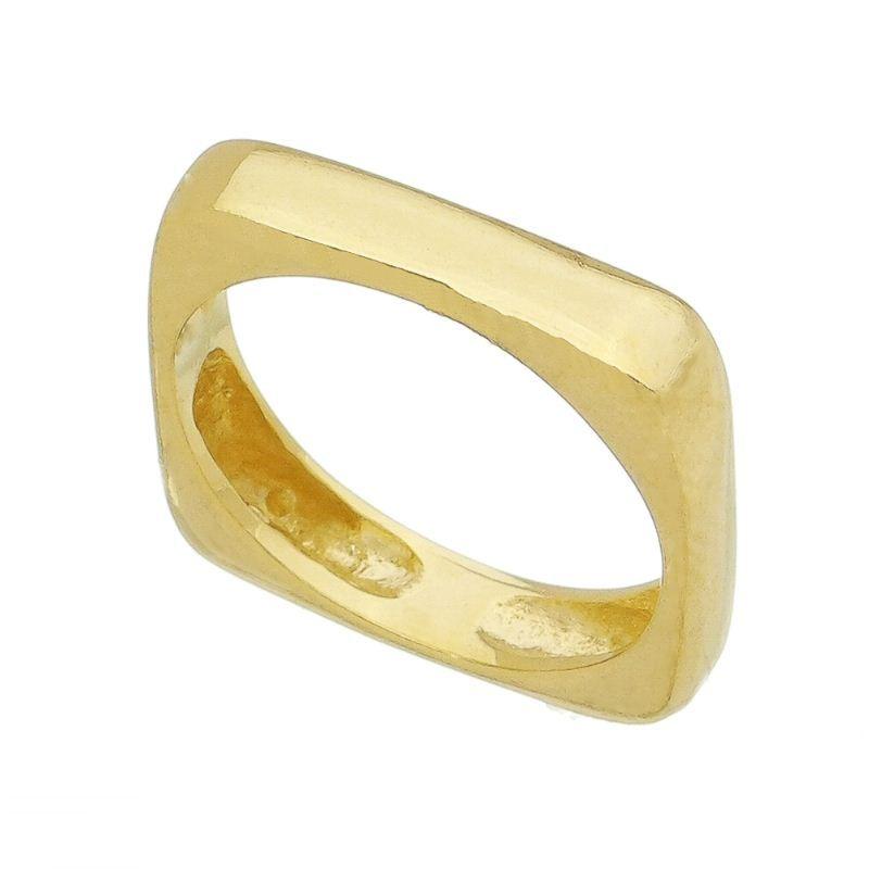 Anel Liso Quadrado Banho Ouro 18k - Giro Semijoias