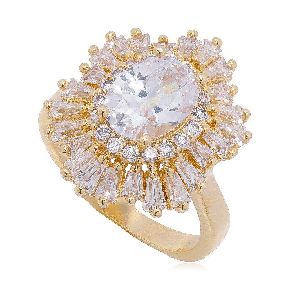 Anel Navete com Cristal e Pedra Zircônia Ouro 18k - Giro Semijoias