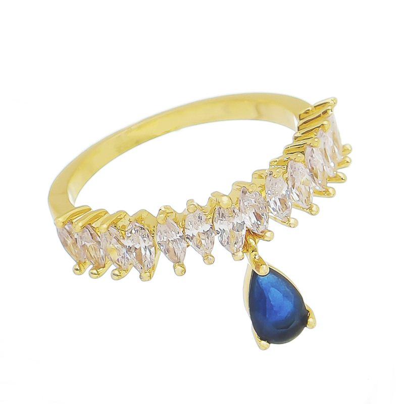 Anel Navete Zircônia C/ Pingente Gota Azul Eufrósina - Banho de Ouro18k