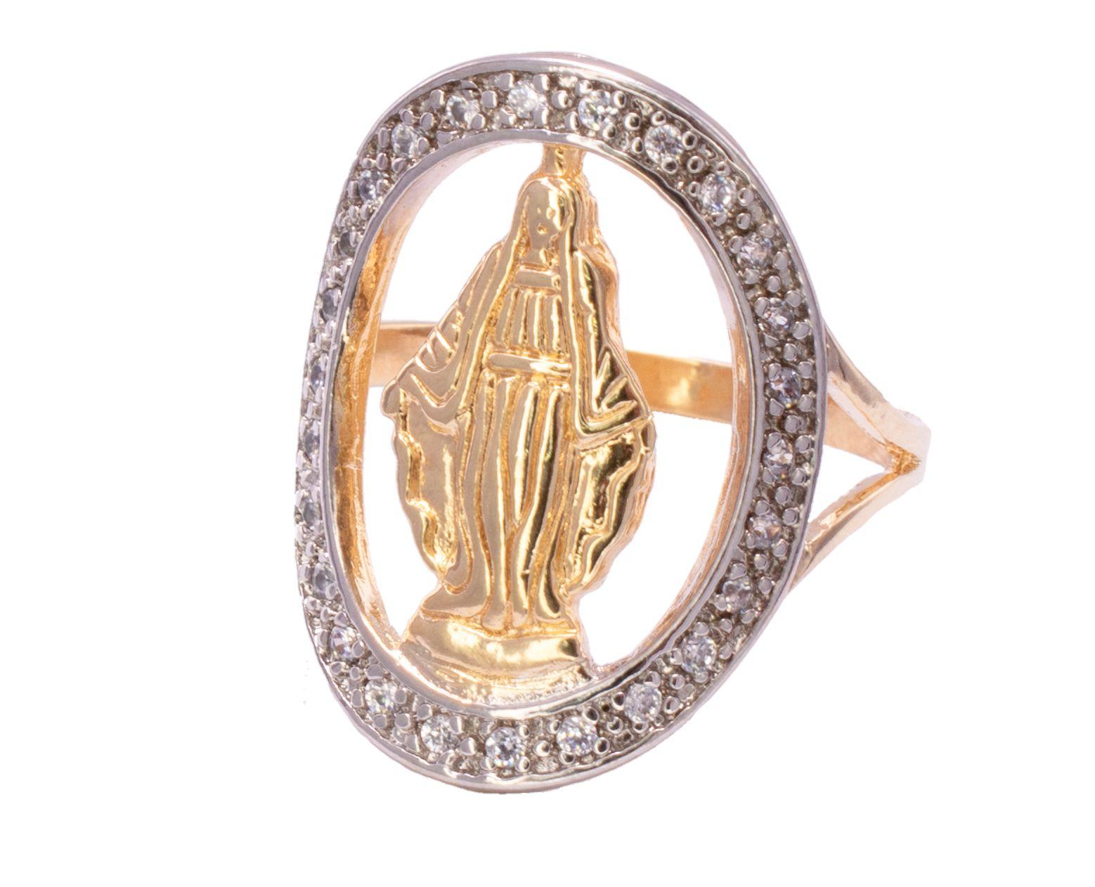 Anel Nossa Senhora das Graças Cravejado em Zircônias Folheado em Ouro 18k