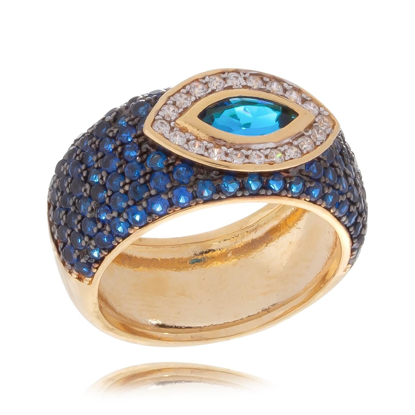 Anel Olho Grego com Pedras Zircônias Folheado em Ouro 18k