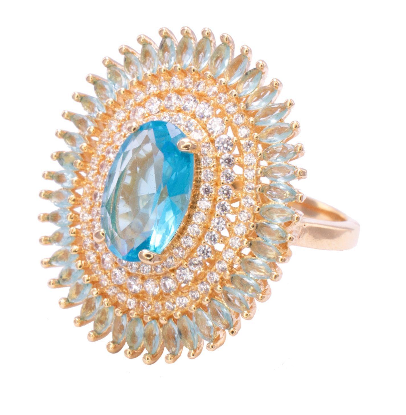 Anel Oval com Cristal Azul e Pedra Zicônia Ouro 18k - Giro Semijoias