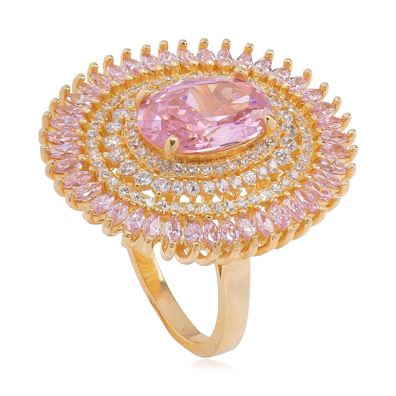 Anel Oval com Cristal Rosa e Zicônia Folheado em Ouro 18k