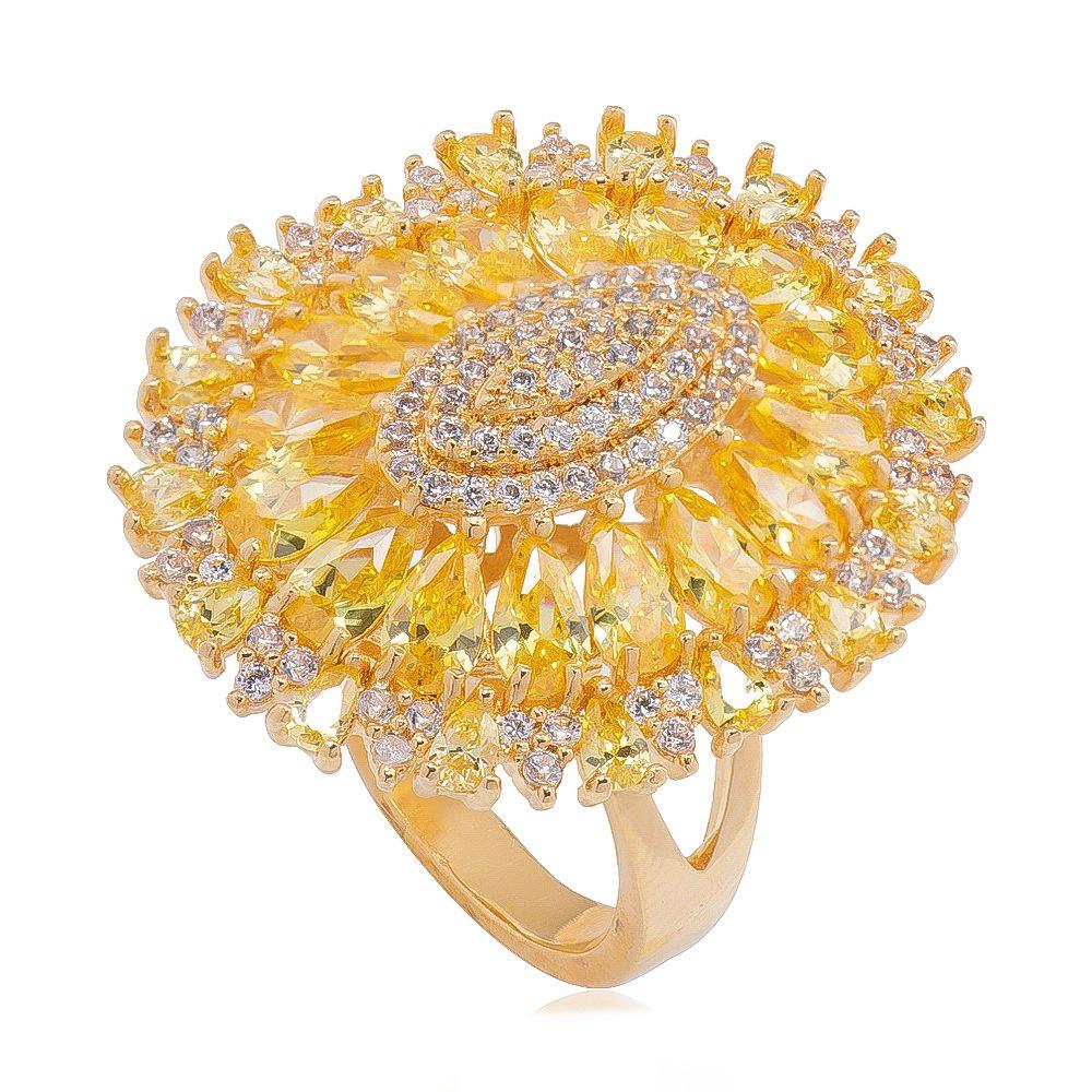 Anel Oval com Navete em Zircônias Amarelas Folheado em Ouro 18k