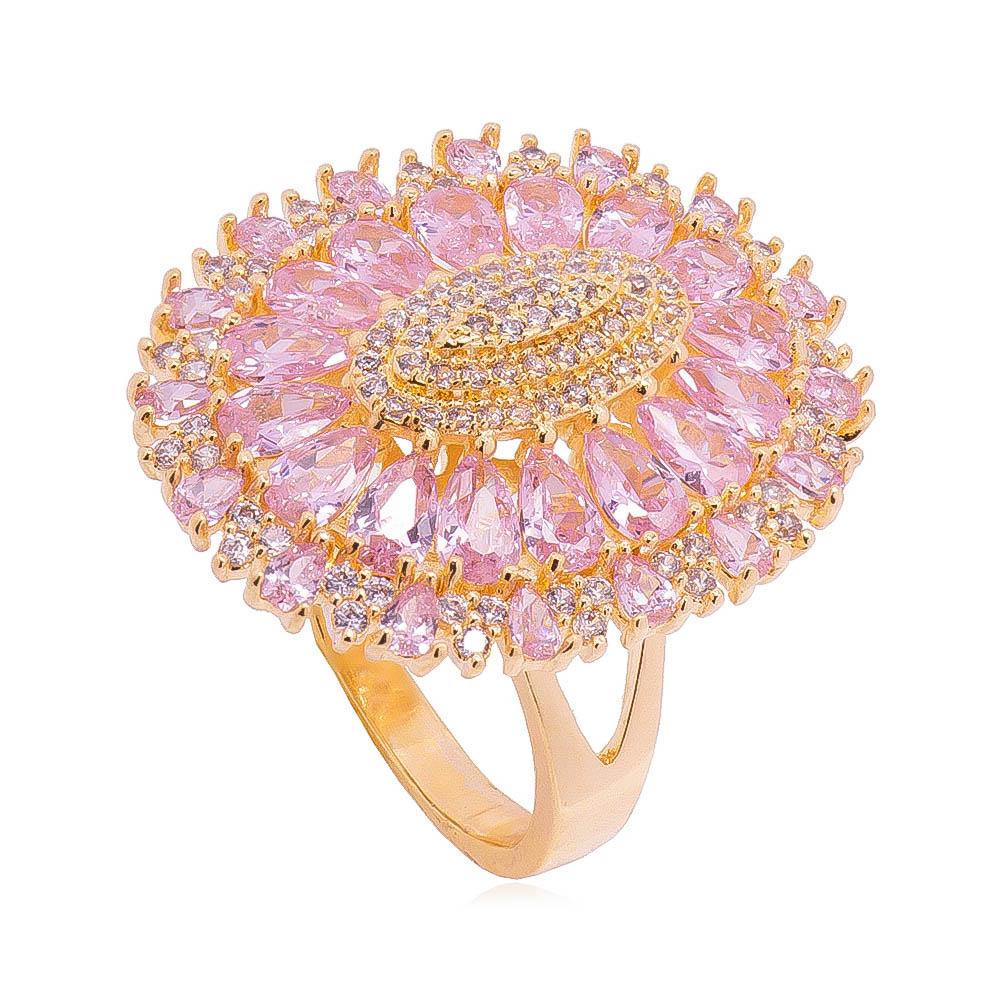 Anel Oval com Navete em Zircônias Rosa Folheado em Ouro 18k