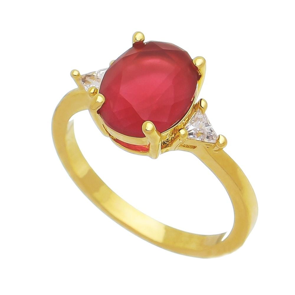 Anel Oval Cristal Vermelho com Triângulo Zircônia Lateral Folheado em Ouro18k - Giro Semijoias