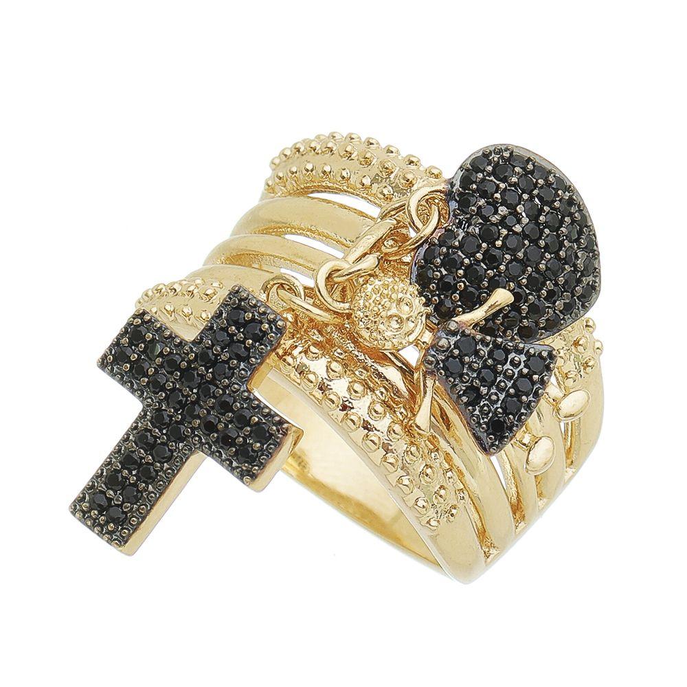 Anel Pingente Coração/Cruz/Menina Cravejado com Pedra Zircônia Ouro 18k - Giro Semijoias
