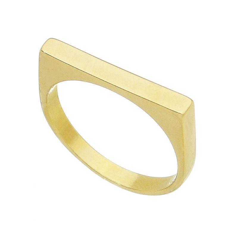 Anel Quadrado Liso Tétis Banho Ouro 18k - Giro Semijoias