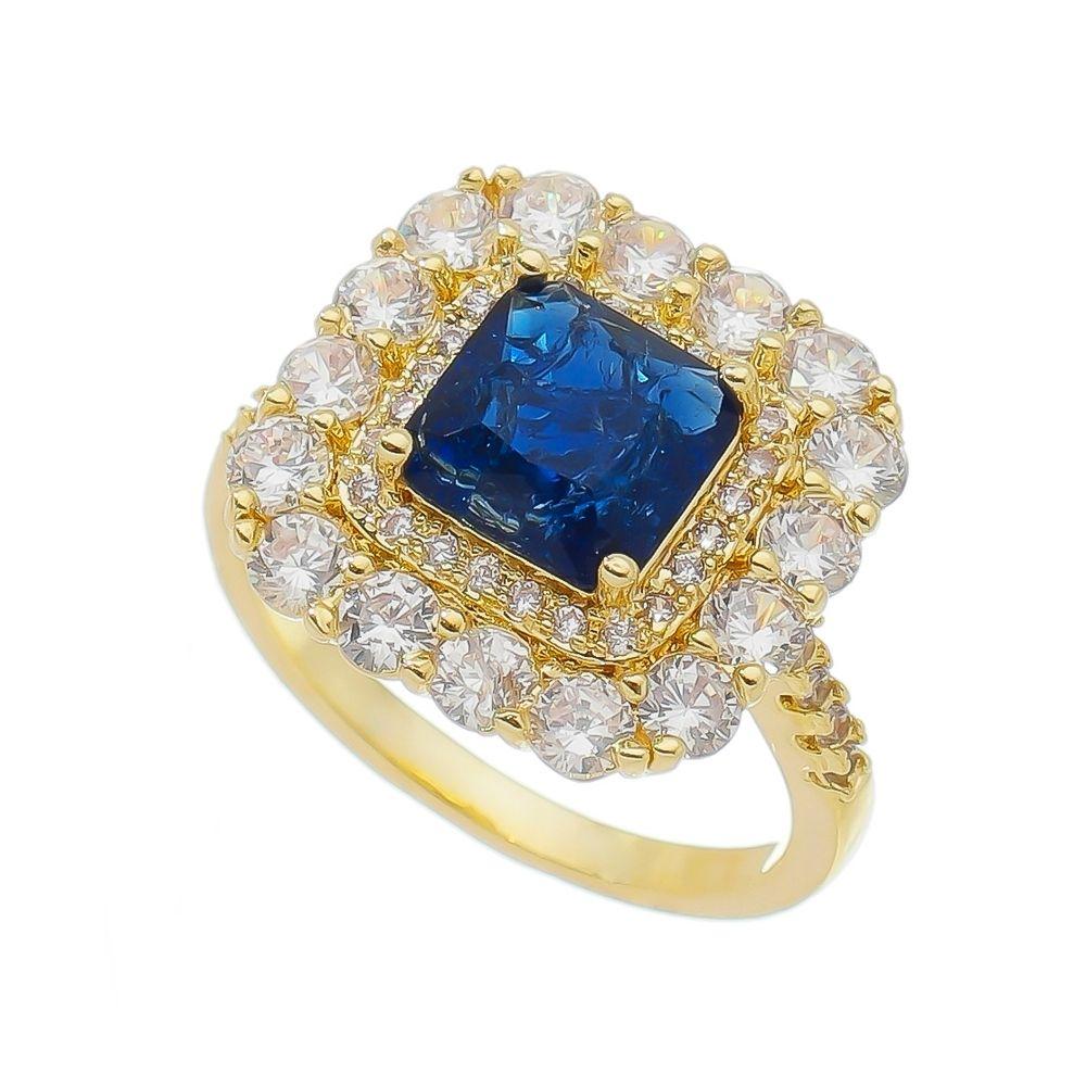 Anel Quadrado Pedra Fusion Azul e Zircônias Laterais Alsafi - Banho Ouro 18k