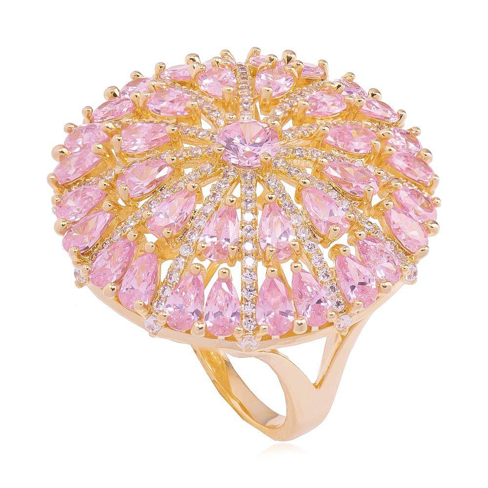 Anel Redondo com Cristal Rosa e Zircônia Ouro 18k - Giro Semijoias