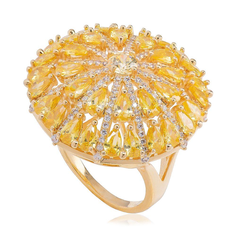 Anel Redondo Cristal Amarelo e Zircônia Folheado em Ouro 18k - Giro Semijoias