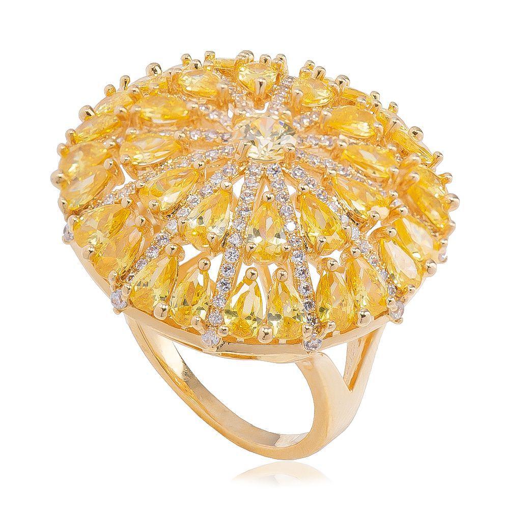 Anel Redondo Cristal Amarelo e Zircônia Ouro 18k - Giro Semijoias