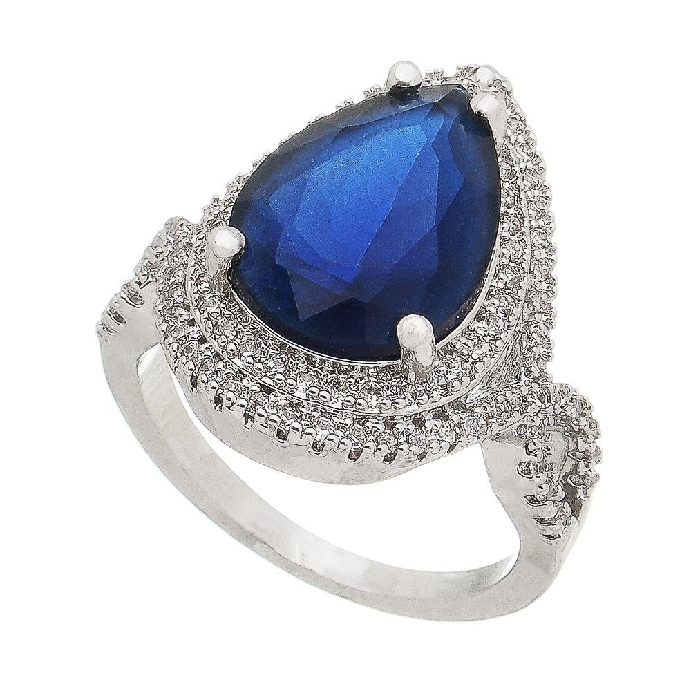 Anel Ródio Branco Gota Cristal Azul/Zircônia Incolor