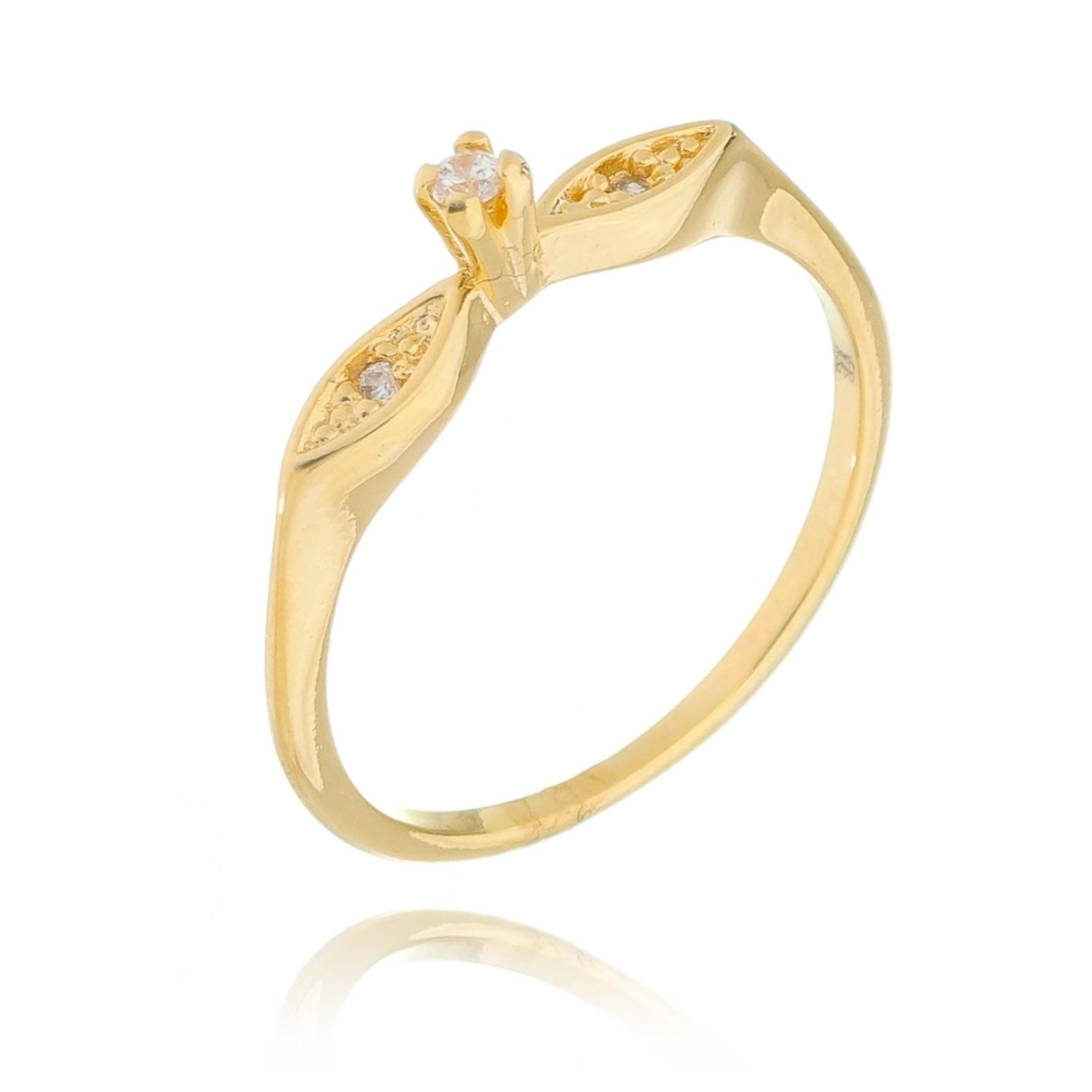 Anel Solitário com Pedra em Zircônia Folheado em Ouro 18k - Giro Semijoias