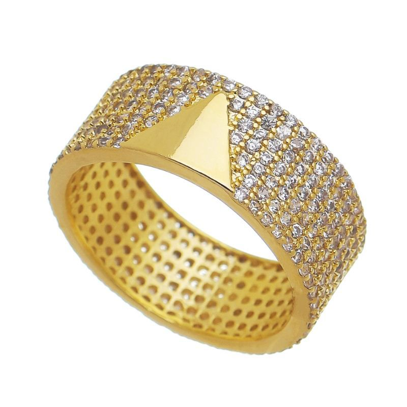 Anel Triângulo Liso com Aro Zircônia Banho Ouro 18k - Giro Semijoias