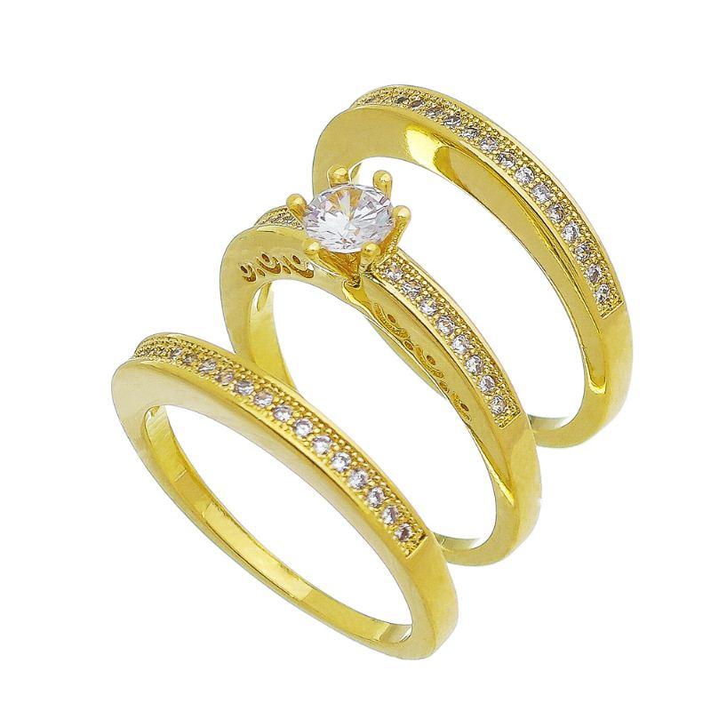 Trio de Anéis Solitário e Aparador Cravejado em Zircônia Folheado em Ouro 18k