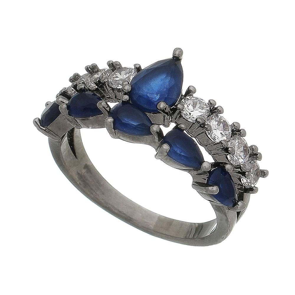 Anel Vazado C/ Cristal Azul e Zircônia Gordonia - Banho Ródio Negro