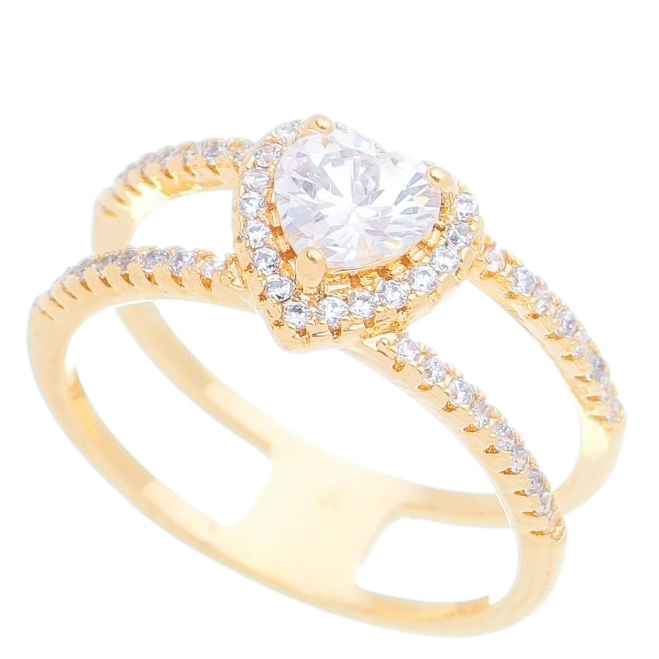 Anel Vazado Coração com Pedra Zircônia Ouro 18k - Giro Semijoias