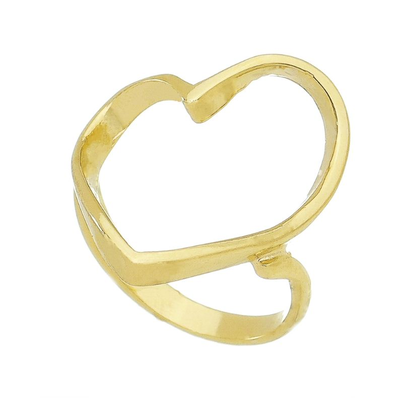 Anel Vazado Coração Folheado em Ouro 18k - Giro Semijoias