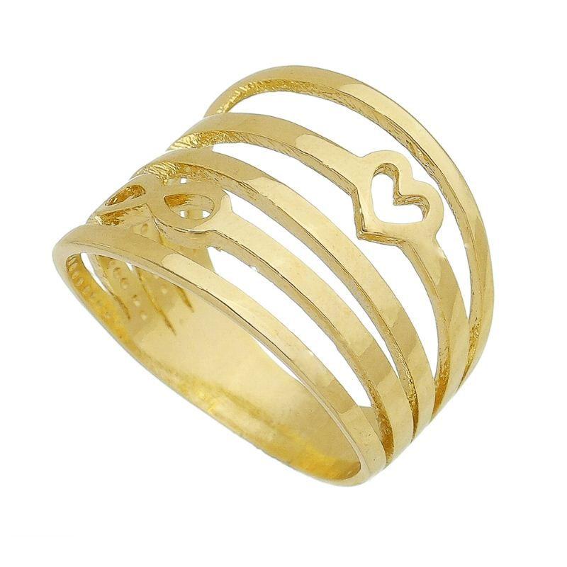 Anel Vazado de Coração com Infinito Banho Ouro 18k - Giro Semijoias